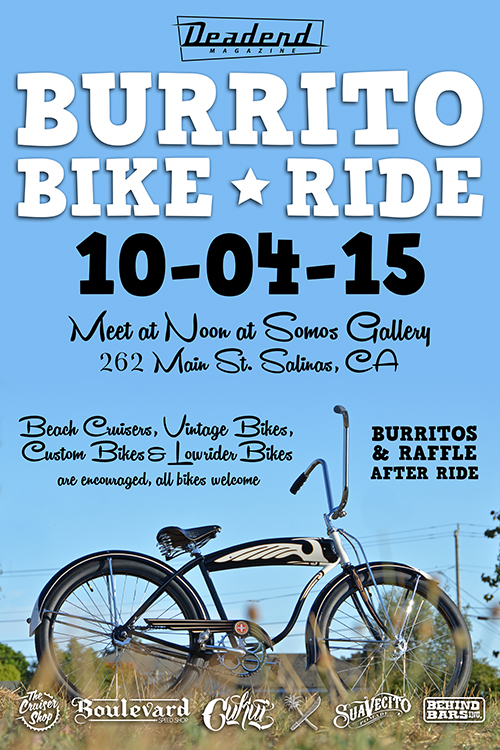Burrito Bike Ride Sunday October 4, 2015 meet at Somos Gallery in Oldtown Salinas, CA