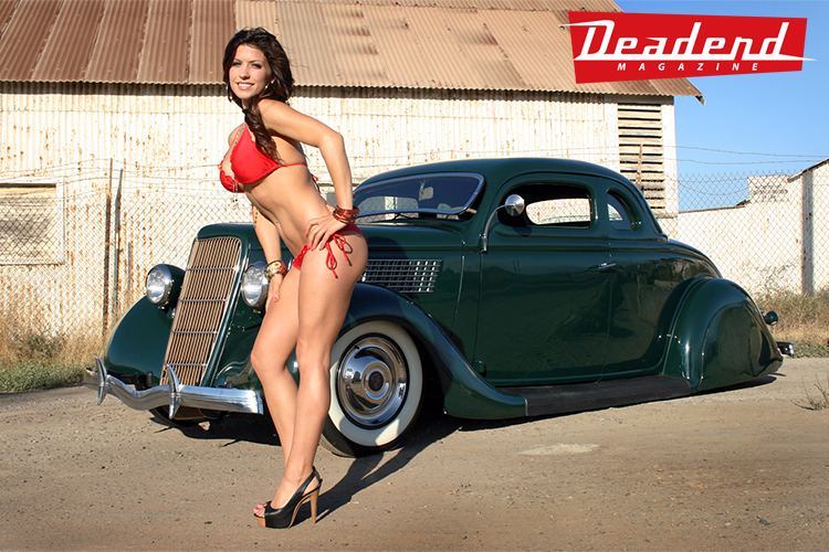 We think Danielle really complimented Joe's classy '35 ford.