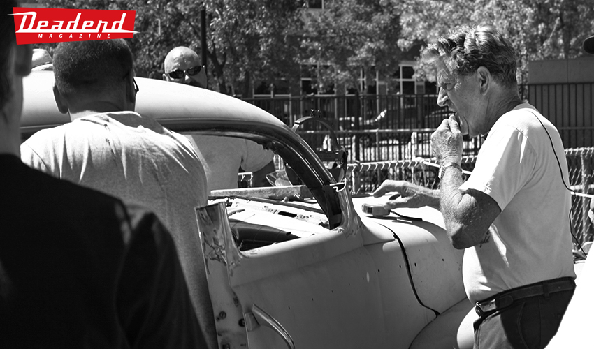 Gene Winfield & co. chopping up a car.