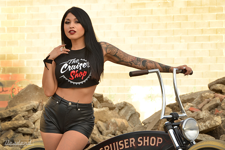 Some of our clients have specifically asked for her Aieko. (Yes we sometimes make time to shoot for other, Here she poses with a custom bike built by The Cruiser Shop)