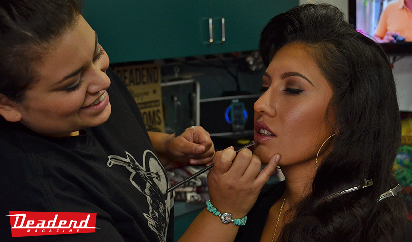 A little BTS shot with make-up artist Santana from Blush Monterey touching up Mayra.