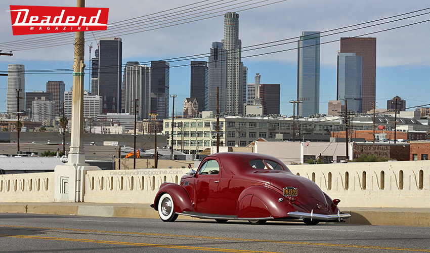 Novelo cruising his Zephyr with DTLA in the background.
