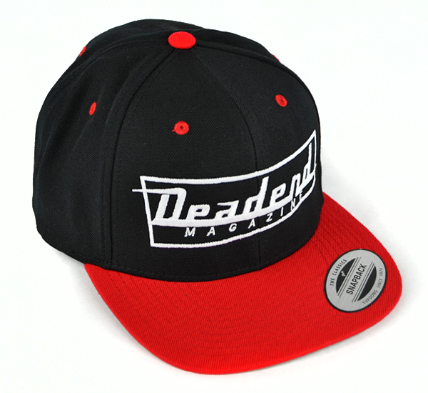 Our new black & red snapback hat.