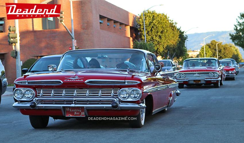 Los Loners Car Club pulling up.
