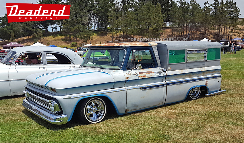 This cool pick-up from Santa Maria, CA took home the Suavecito Pomade pick. Notice the cool old camper.