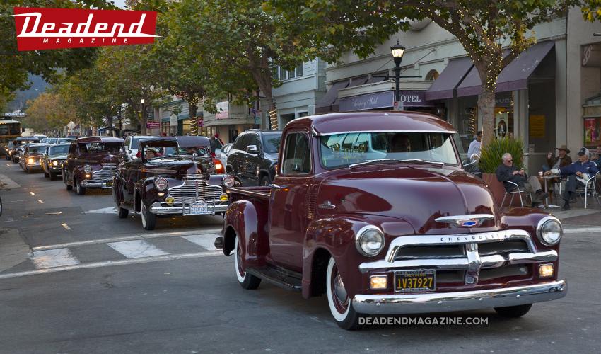 Oldies Car Club all lined up on Alvarado.