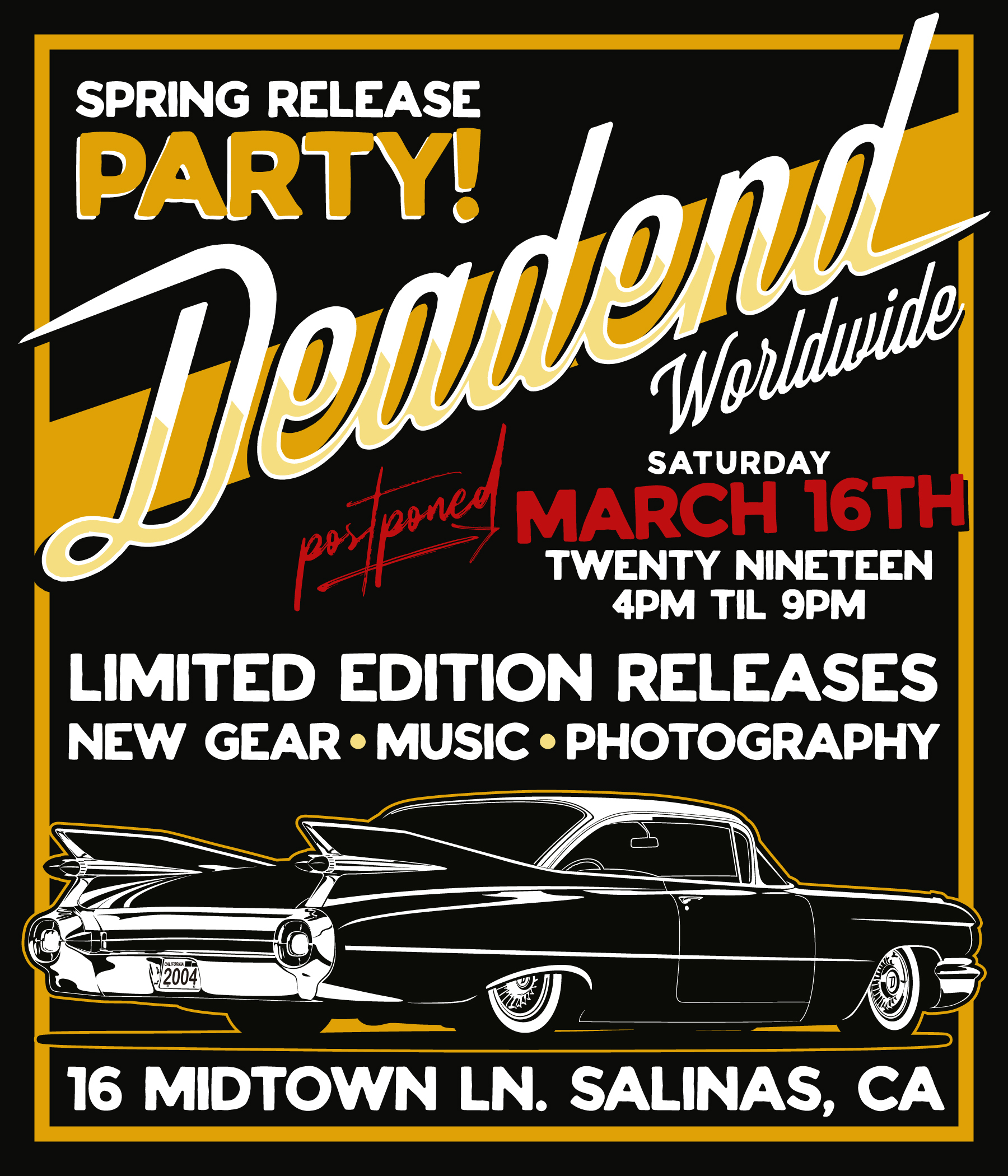 Our next party is going down March 16, 2019 at the Deadend Magazine store.