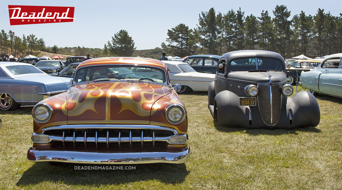 Jack Fields' flamed 54 Chevy took hoime the Payasos Car Club pick.