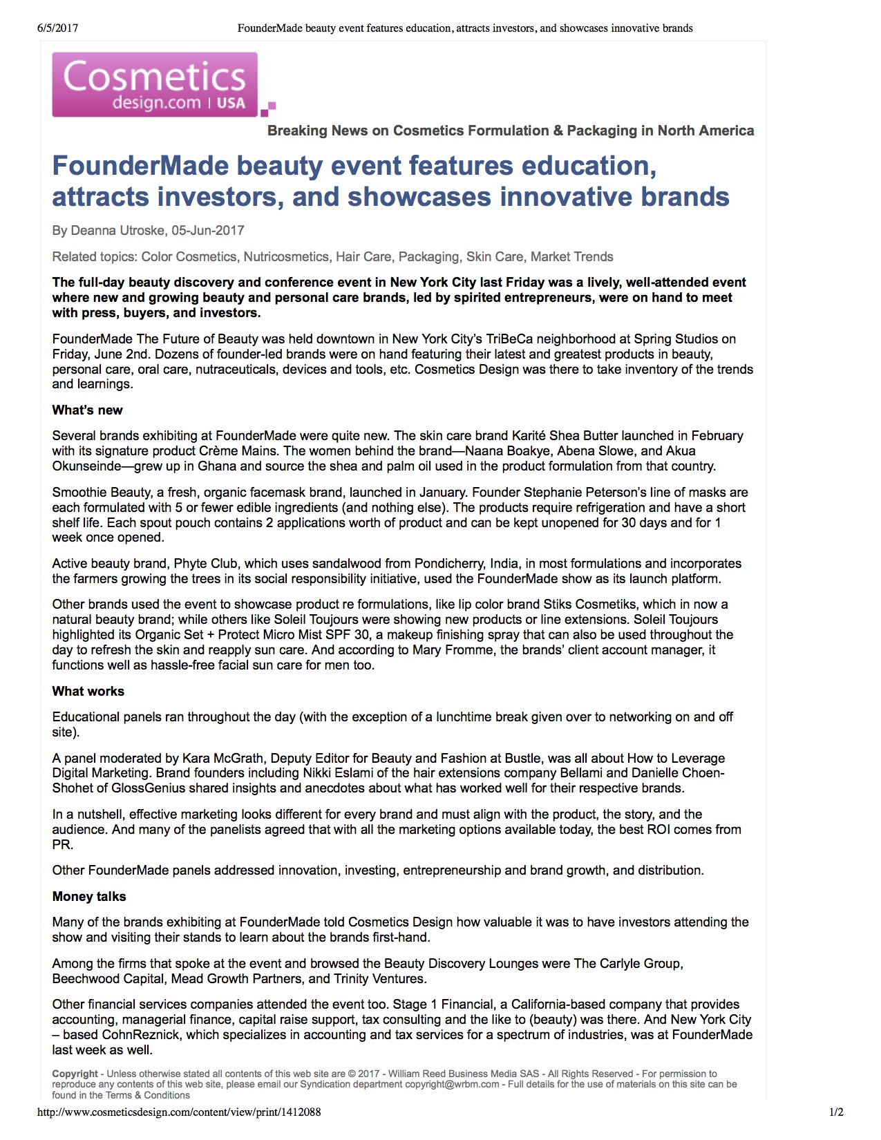 Cosmeticsdesign.com 5th june 2017