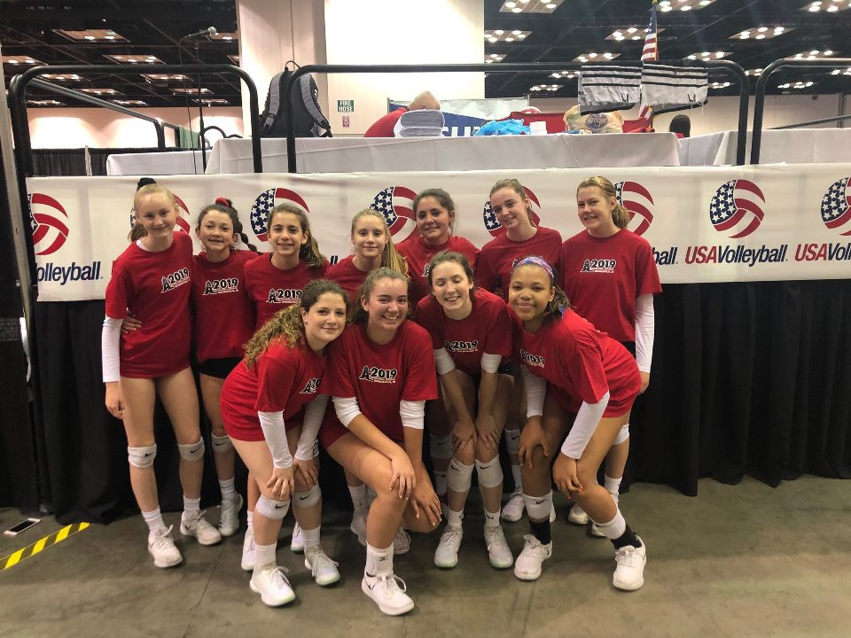 Girls 14 Red getting ready for a great day at Nationals!