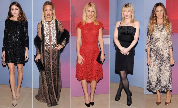 Celebrities in Valentino :Olivia Palermo, Rachel Zoe, Claire Danes, Courtney Love and Sarah Jessica Parker