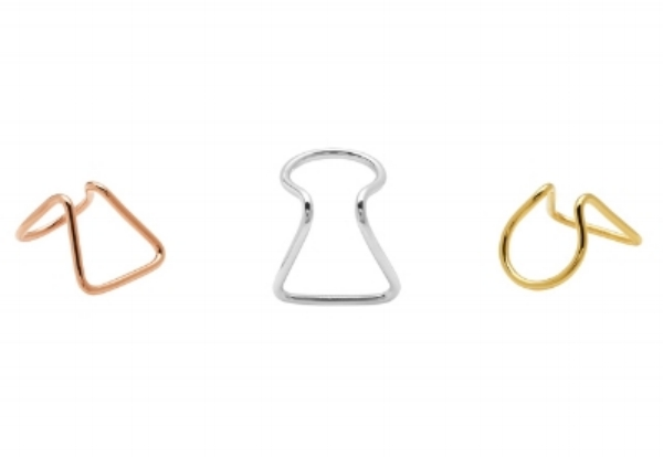 Keyhole rings in rose gold, silver and yellow gold (pic: Carrie K.)