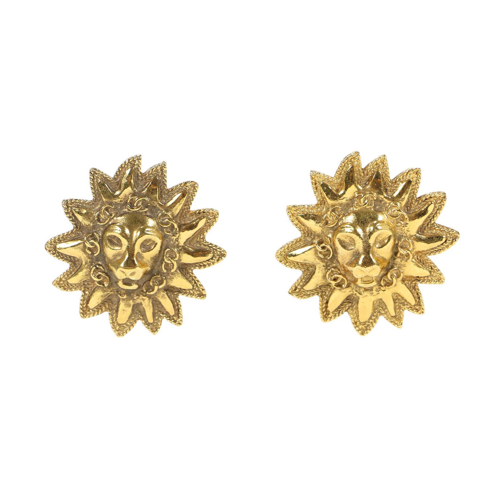 CHANEL - Leo Sun Clip Earrings