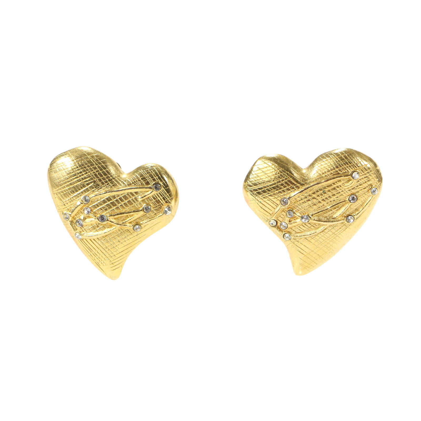CHRISTIAN LACROIX - https://www.thefifthcollection.com/products/christian-lacroix-brushed-metal-stone-heart-earrings