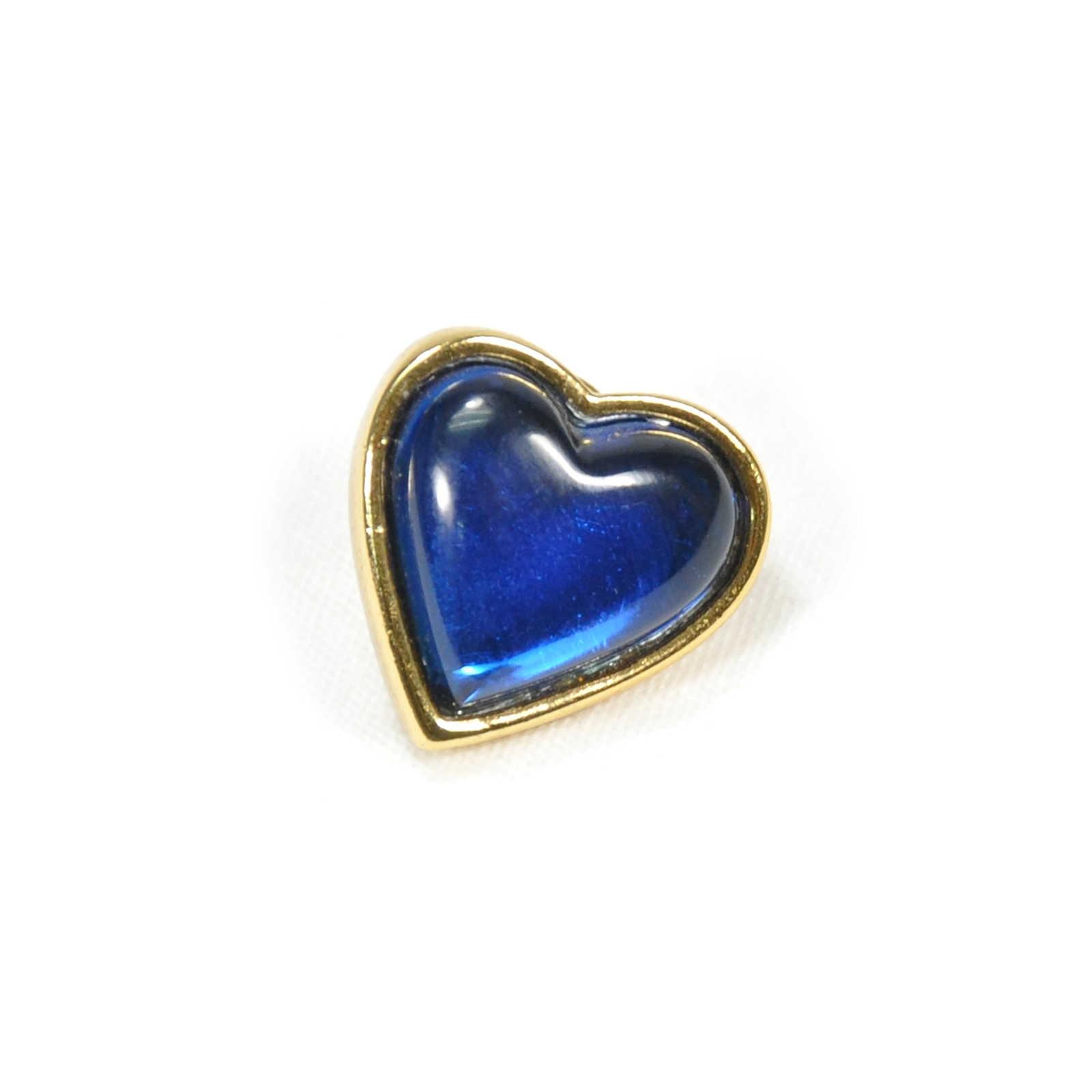 YVES SAINT LAURENT - Glass Heart Brooch Blue