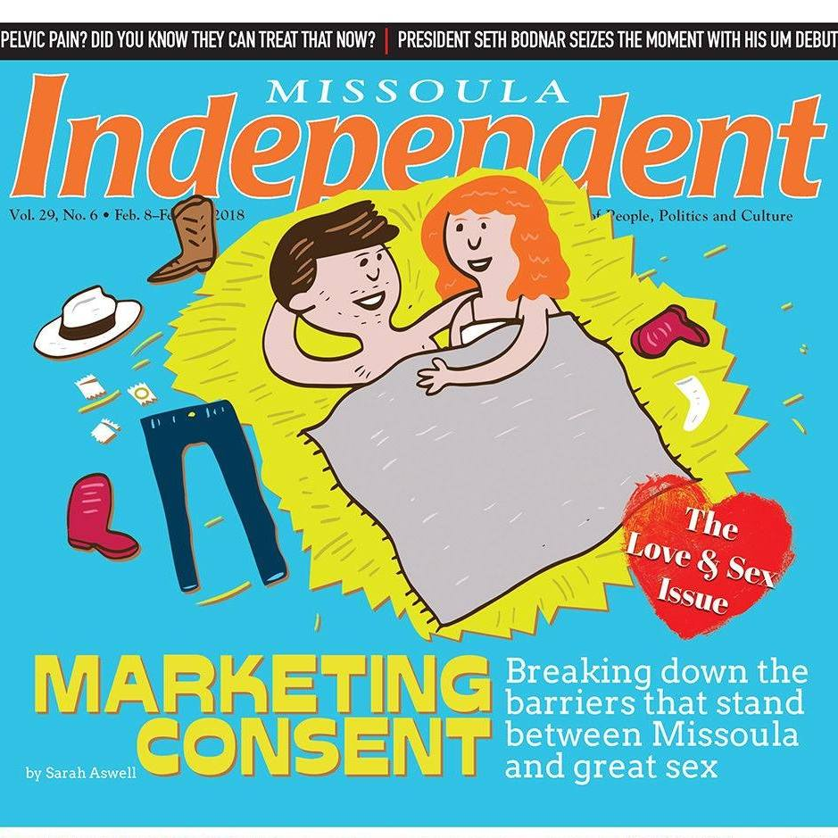 The cover page of the Febuary 8, 2018 Missoula Independent  has a picture of couple under a blanket in a pile of hay. Their clothing is thrown about.