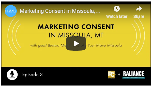 "A screenshot of a YouTube video. It reads: ""Marketing Consent in Missoula, MT with guest Brenna Merrill of Make Your Move Missoula."""