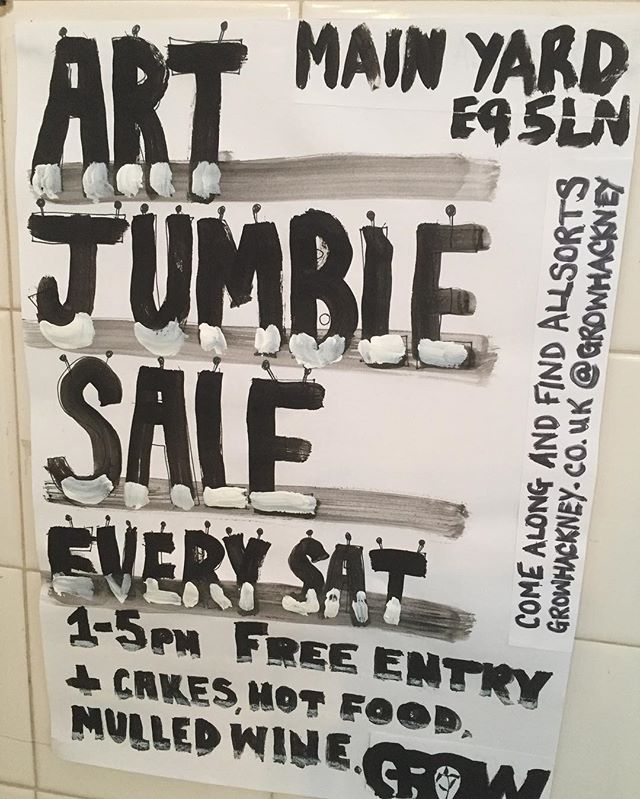 The art jumble sale at @GrowHackney starts this Sat & then every sat #art #music #community #social  me plus 9 artists/musicians  EVERY SAT // FREE ENTRY Come down to Grow for our Art Jumble Sale to find all sorts. Every week, something different. Music will always be good. It's social. Cakes from Canababes Food Co Ltd. New Winter Menu (meat/vegan) from Slow Fire London Mulled wine, craft and organic drinks and a good cuppa tea from Grow's bar.  Email jordanna@growhackney.co.uk if you're interested in selling. We have limited space so we need to book you in.  About Grow, Hackney We are an independently run space and an experiment in ethical business, which includes working with local artists, musicians on collaborative projects to host free events where everyone is welcome. We pay London Living Wage and partner with community projects to share and nurture local talent. Grow has no investment and is built by local Hackney Wickers and relys on the sharing economy of the area. Profits go back into the community.