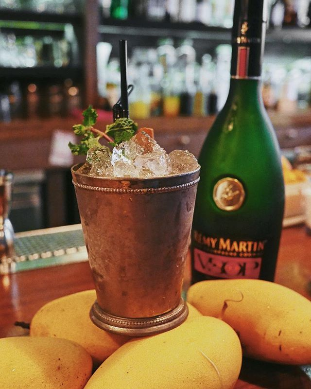 The Smoked Mango Julep, just the drink you need in this heat 😌 . Remy Martin VSOP Cognac, smoked mango, mint, lime.