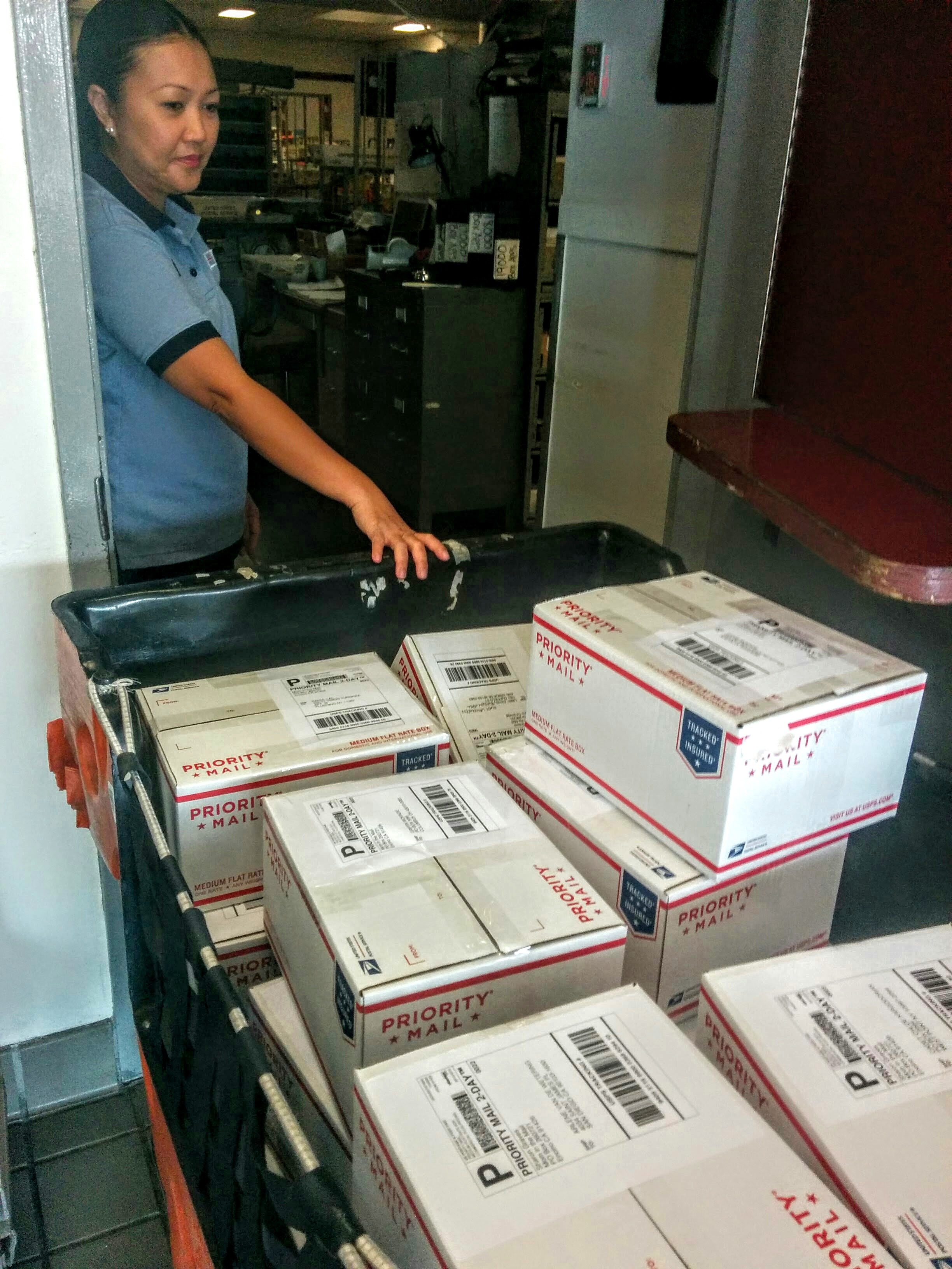 The inaugural batch of boxes departs from Encino. One of us (me) was very excited.