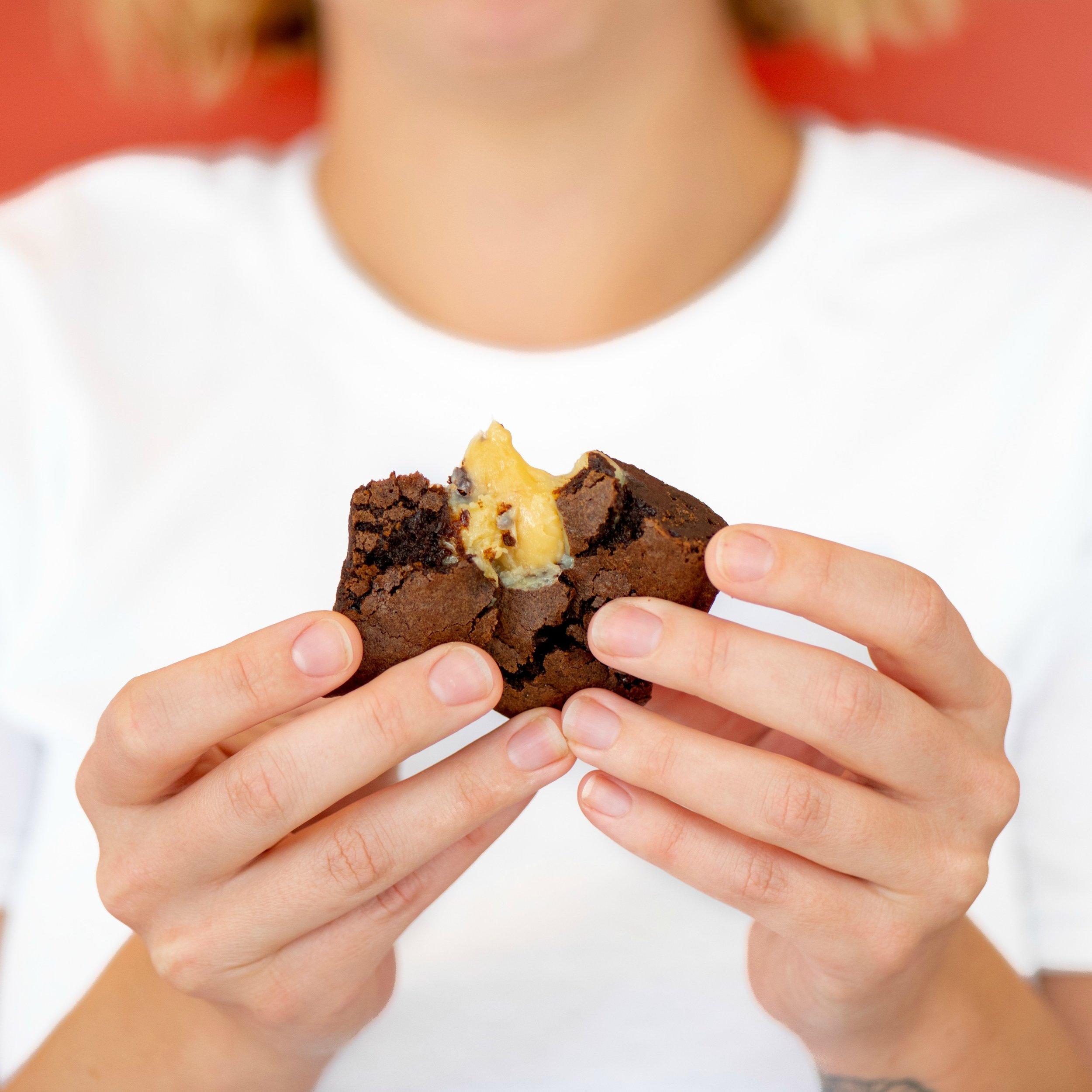 Sweet Milk Brownies - Triple Fudge Brownies with Sweet Milk Bombs baked right in.
