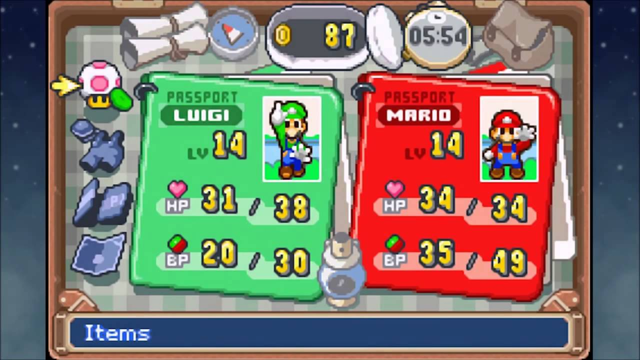 The Mario and Luigi GBA RPG series on the other hand employ a menu that relays the games' whacky mood