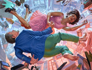 """Scott Hess,  Dancing on the Edge of Time  (2015), oil on polyester canvas, 41 x 54.5""""."""