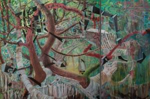 Fatemeh Burnes, Wonderland , 2014-2015, Oil and pigment on canvas, 72 x 108in. (182.9 x 274.3cm.)