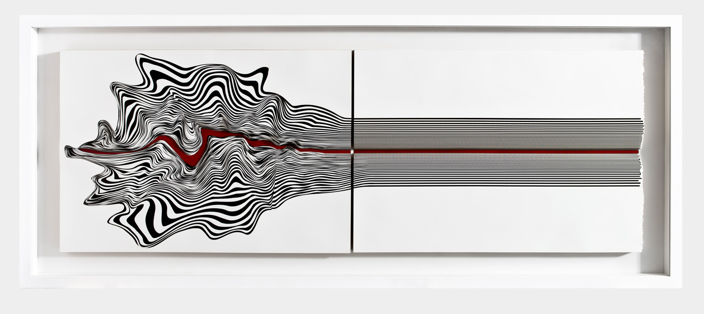 Seçkin Pirim,  Bullet,  2016,metallic paint on 300 gr 80 pieces on Bristol paper cut out