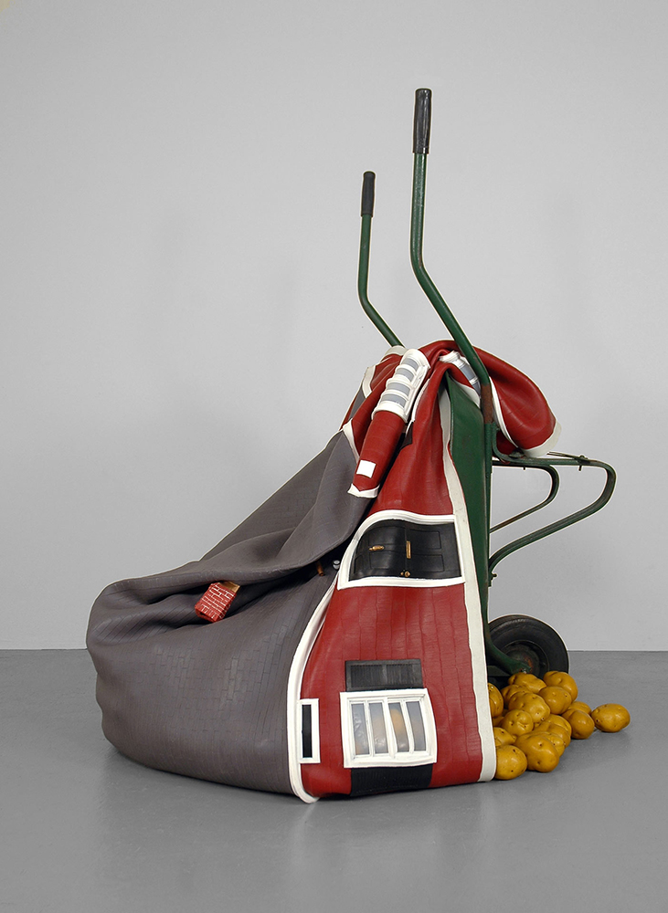 Phytophora Investments , (2009), Wheelbarrow, plastic potatoes, platinum silicon rubber, 55 x 42 x 44in. (139.7 x 106.7 x 111.8cm)