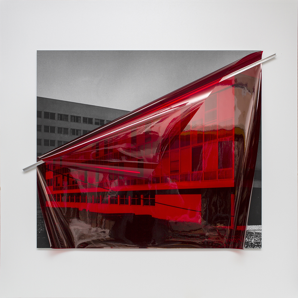 Untitled (Archive ST3: Military Hospital) , 2018  Inkjet print on archival paper and aluminum mounted on aluminum composite panel, color correction filter.  40.55 x 40.55 x 2.17in. (103 x 103 x 5.5cm)