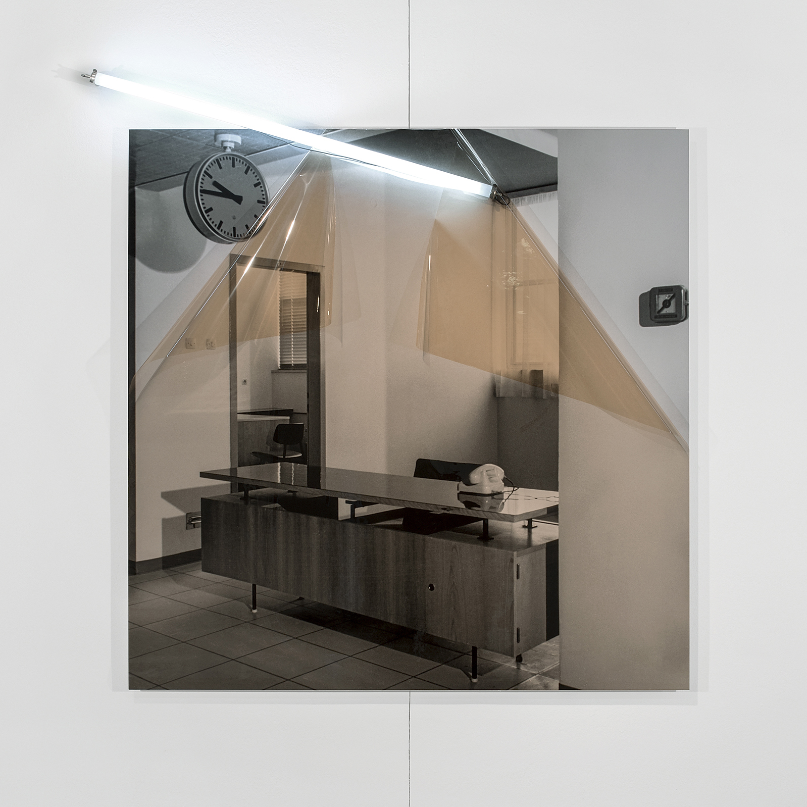Untitled (Archive ST3: Military Hospital) , 2017  Inkjet print on archival paper mounted on aluminum composite panel, color correction filter, fluorescent light tube, electrical fittings.  47.24 x 47.24 x 1.97in. (120 x 120 x 5cm)