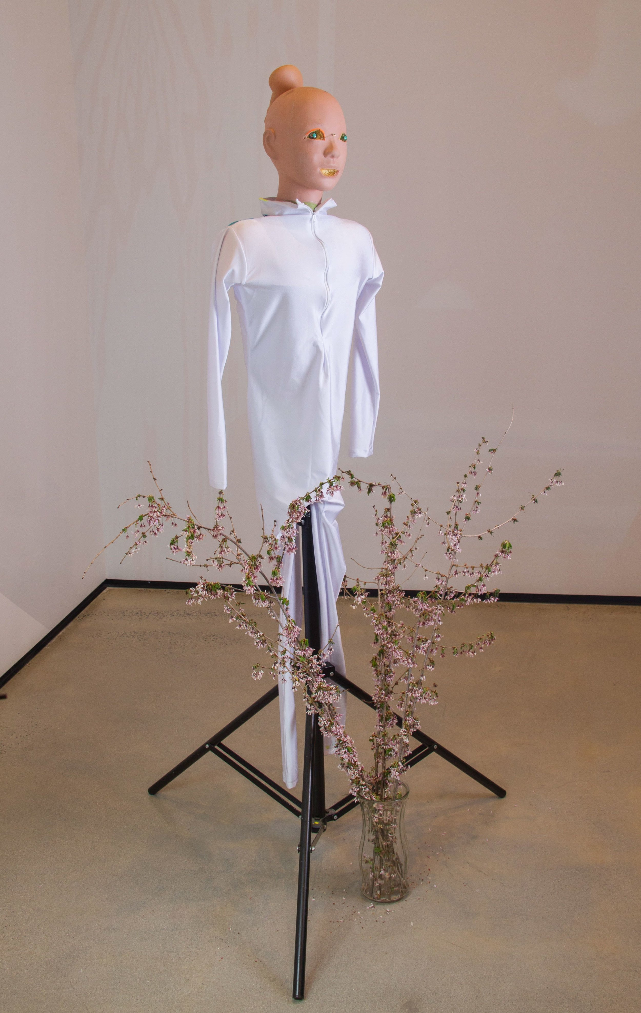 Tommy Hartung    Helena Glory , 2018  Massage mannequin, jumpsuit, prosthetic ear, marbles  68 x 35 x 35in. (172.7 x 88.9 x 88.9cm)