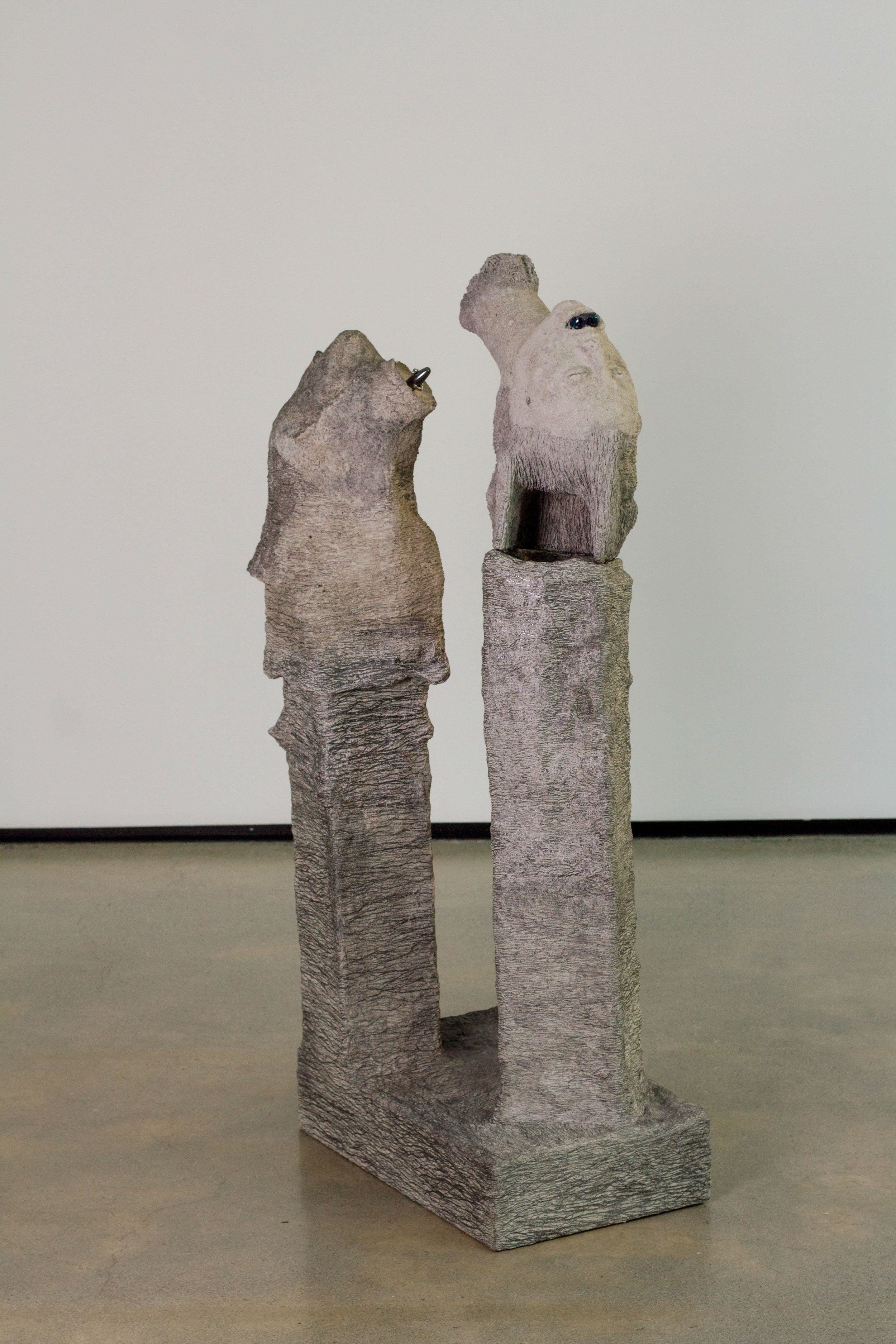 Tommy Hartung    The Bathers , 2016  Celluclay, speaker, glass, magnet, and ball bearings  47 x 23.5 x 15in. (119.4 x 59.7 x 38.1cm)