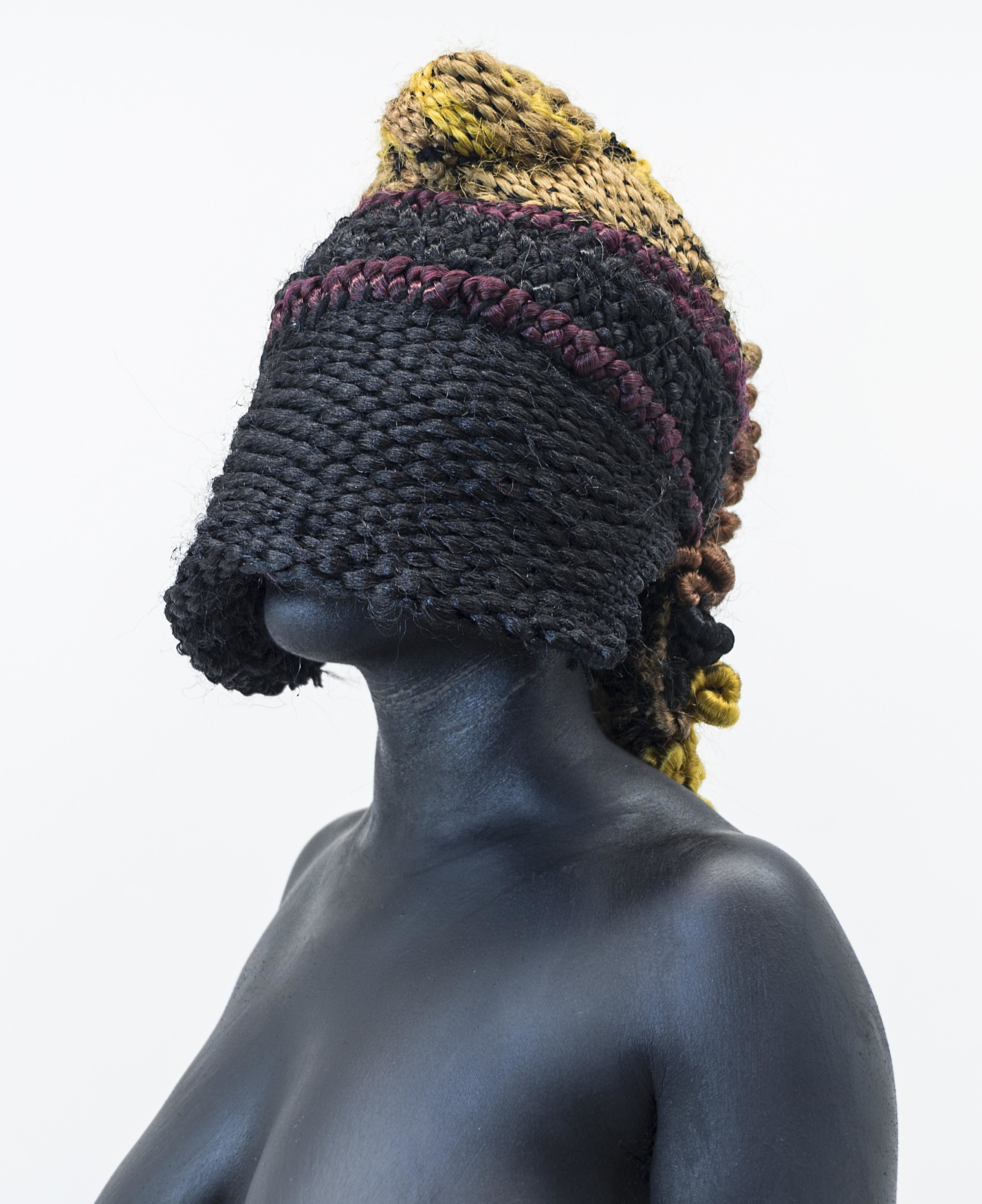 """Stephanie J. Woods,  Weave Idolatry II , 2015, Photograph (hand woven synthetic hair weave, black body paint) with salvaged antique gold frame, 28.5"""" X 23.5"""", Edition 1 of 2"""