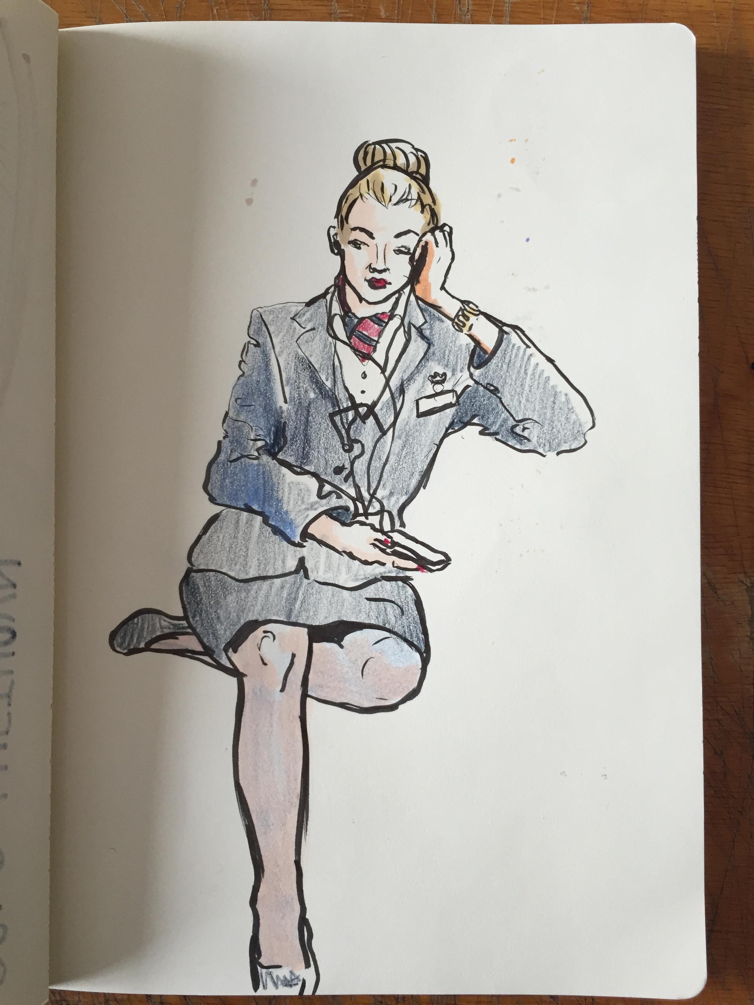 Air Hostess after a flight - London Underground
