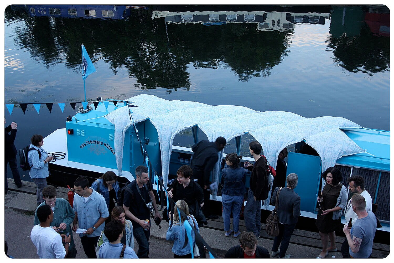 Floating Cinema Launch - 'Puff' pattern on Canal Boat