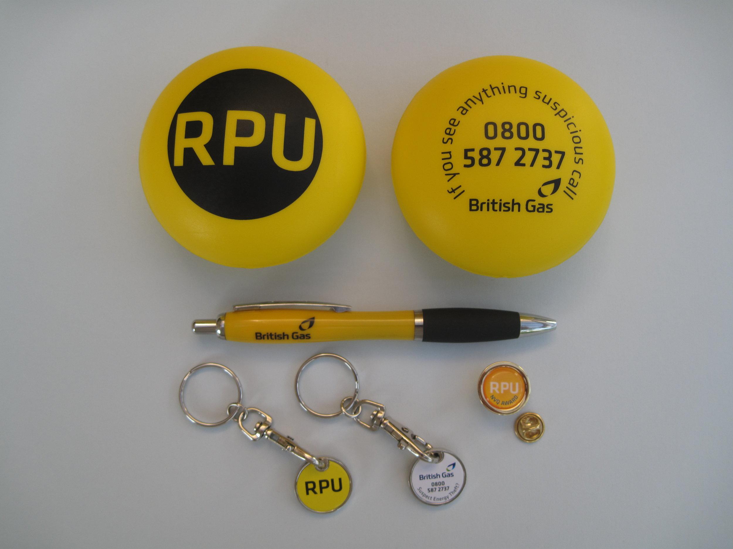 RPU STRESS PILL, KEYRINGS & PENS