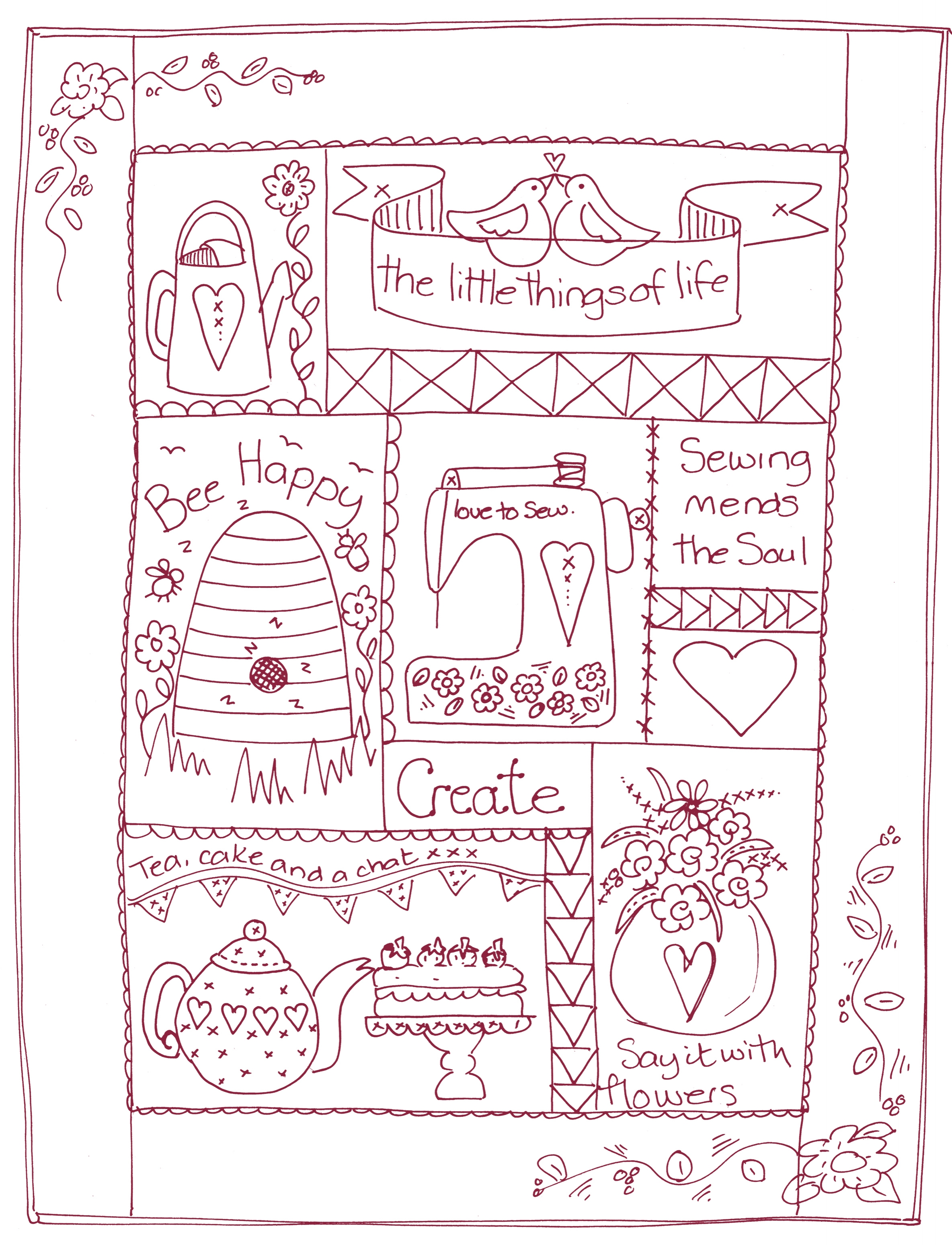"""Mandy's exclusive Secret Society Redwork Quilt. The pattern, motifs and iron-on-transfers are for Members Only and are not on general sale. Finished size approx 30"""" x 20""""."""