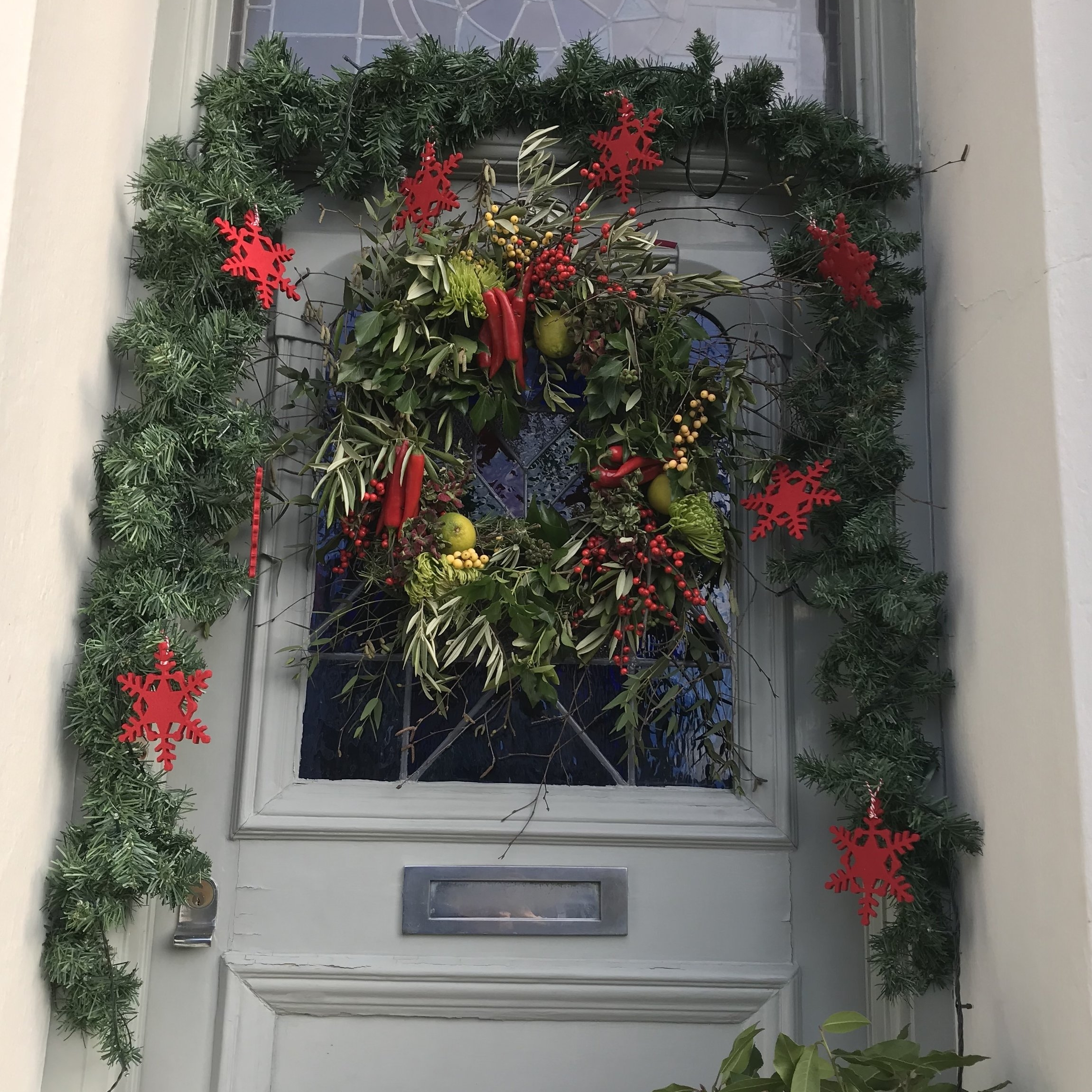 Mandy's front door decorations include foliage from her garden.