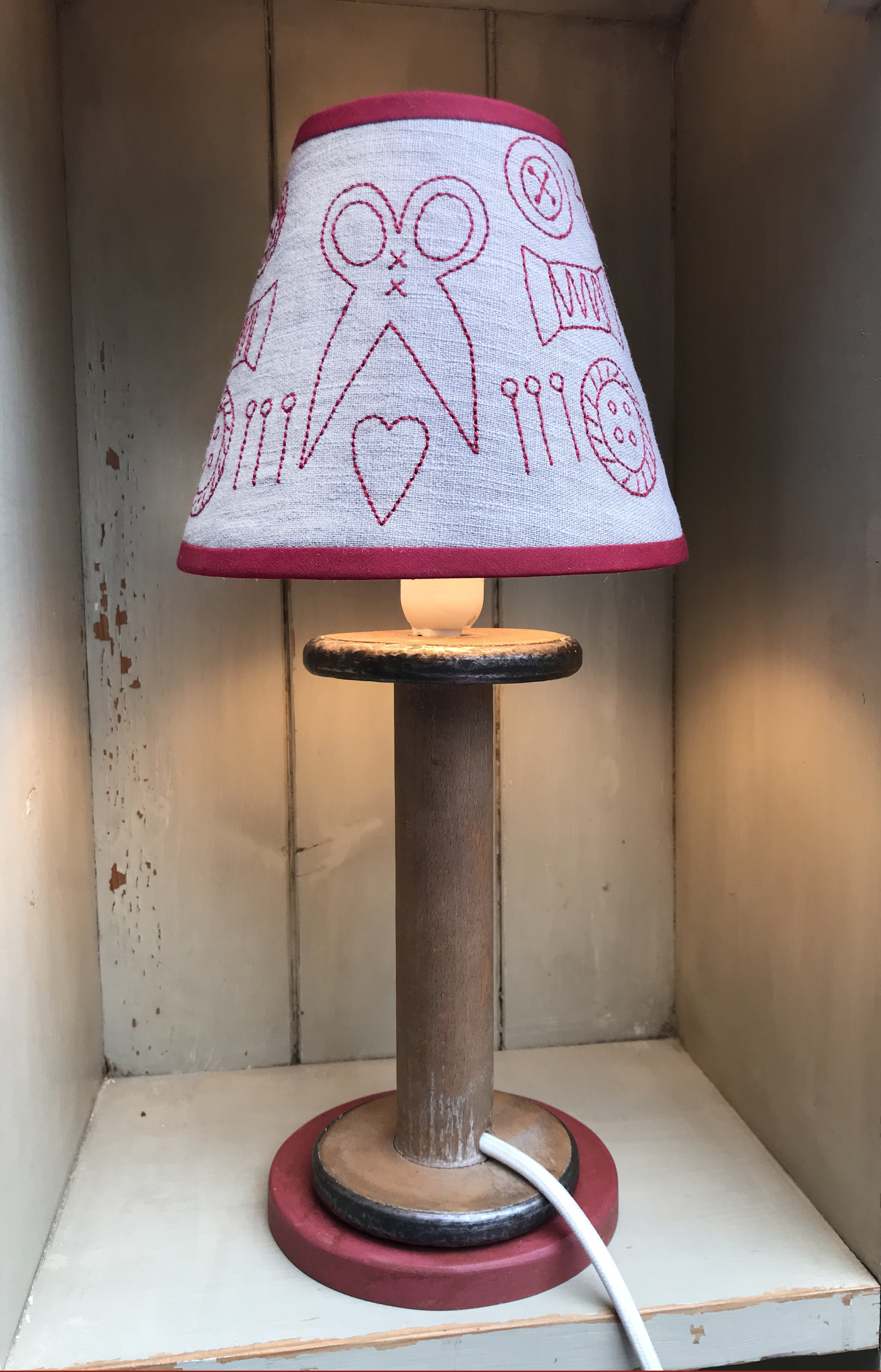 The lamps were inspired by Antique Spools, seen below before being carefully transformed into lamps.