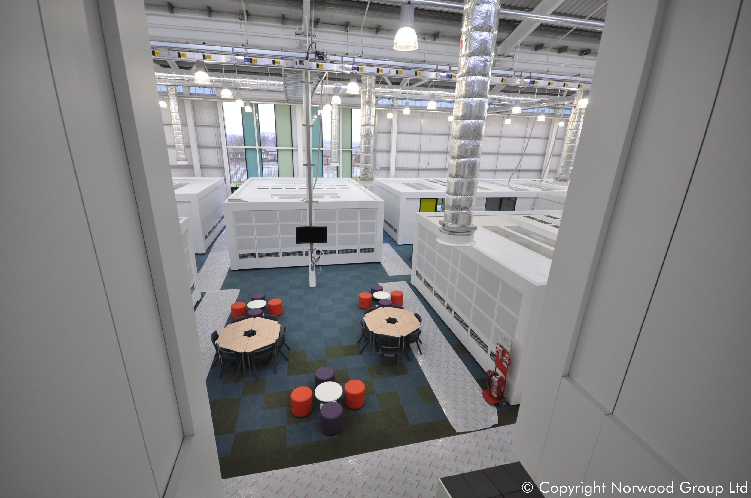 Leeds East Academy Podsolve system. Bespoek Freestanding Acoustic and Ventilated White Steel Partition Classroom Pods