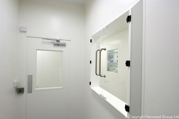 Sheffield University Cleanroom Laboratory Flush Glass Access Hatch