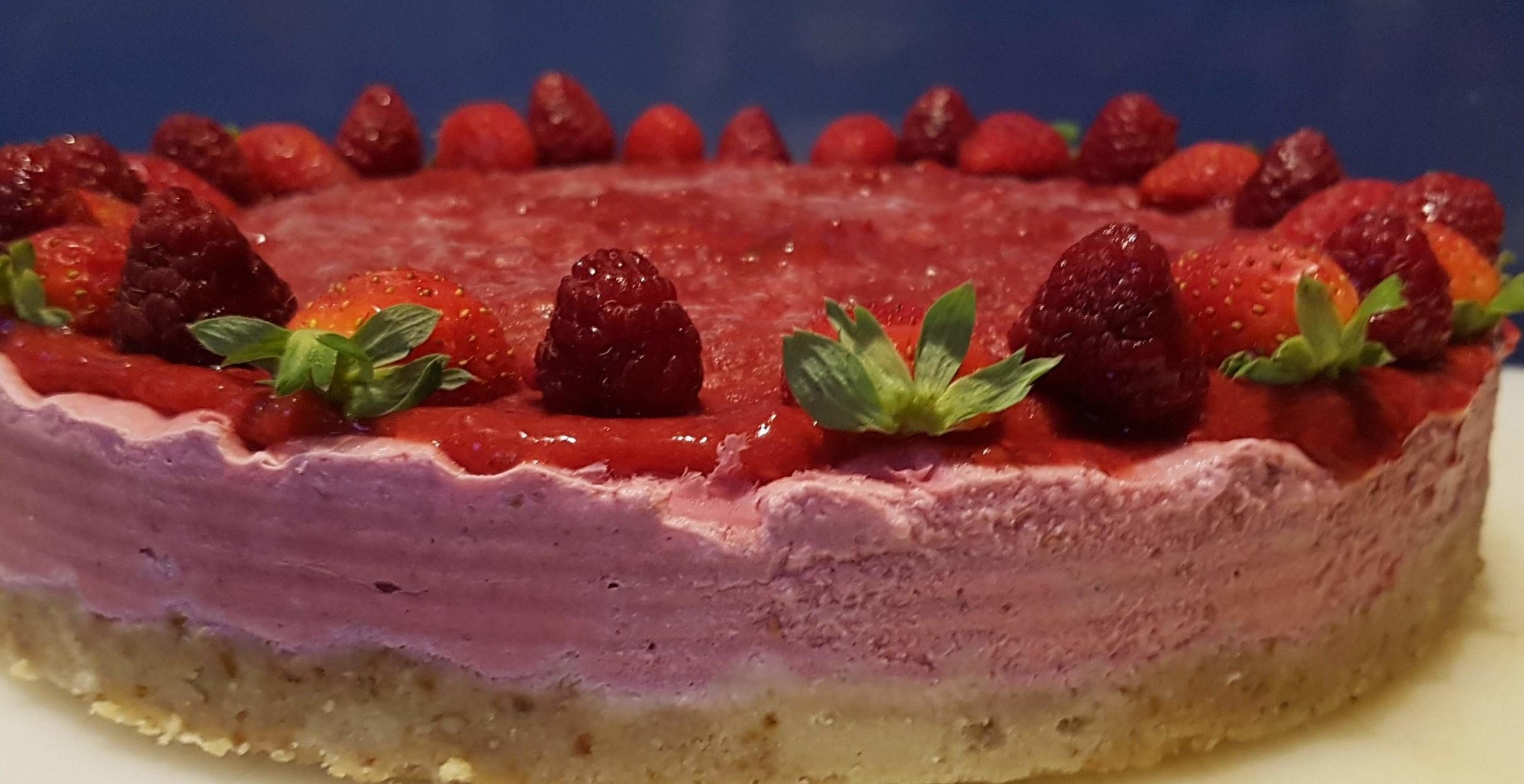 D E L I C I O U S Frozen red berry cake - one of our vegan and gluten free options