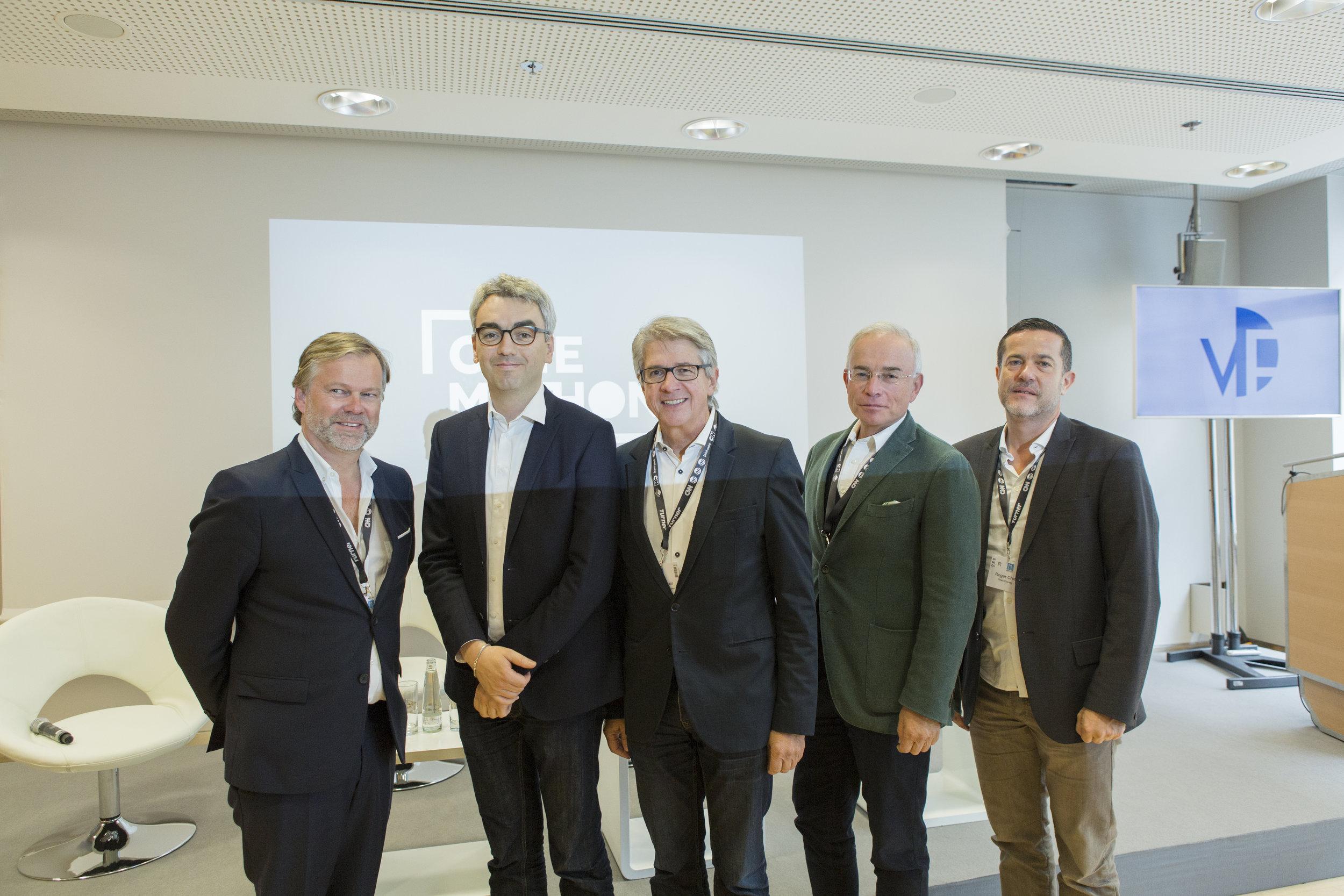 v.l.n.r. Oliver Koppert (Geschäftsführer Constantin Film), Erwin Schmidt (Projektleiter Cinemathon), Arno Ortmair (Vorstandsvorsitzender VDFP), Thomas Negele (Vorstandsvorsitzender HDF Kino), Roger Crotti (VP The Walt Disney Company)