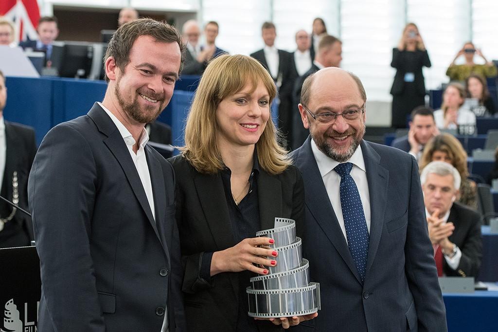 Jonas Dornbach (Komplizenfilm), Maren Ade, Martin Schulz. Foto: EU-Parlament