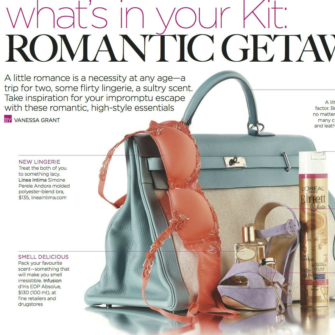 THE KIT PAPER:  Romantic Getaway   A little romance is a necessity at any age—a trip for two, some flirty lingerie, a sultry scent. Take inspiration for your impromptu escape with these romantic, high-style essentials.