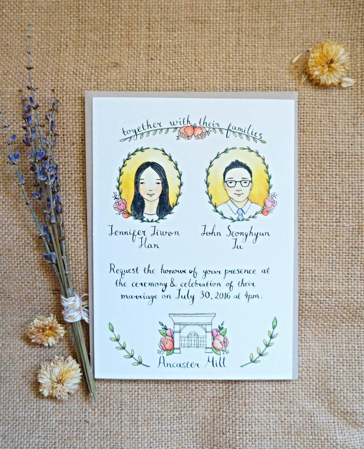 Illustrated Wedding Invitation (front)