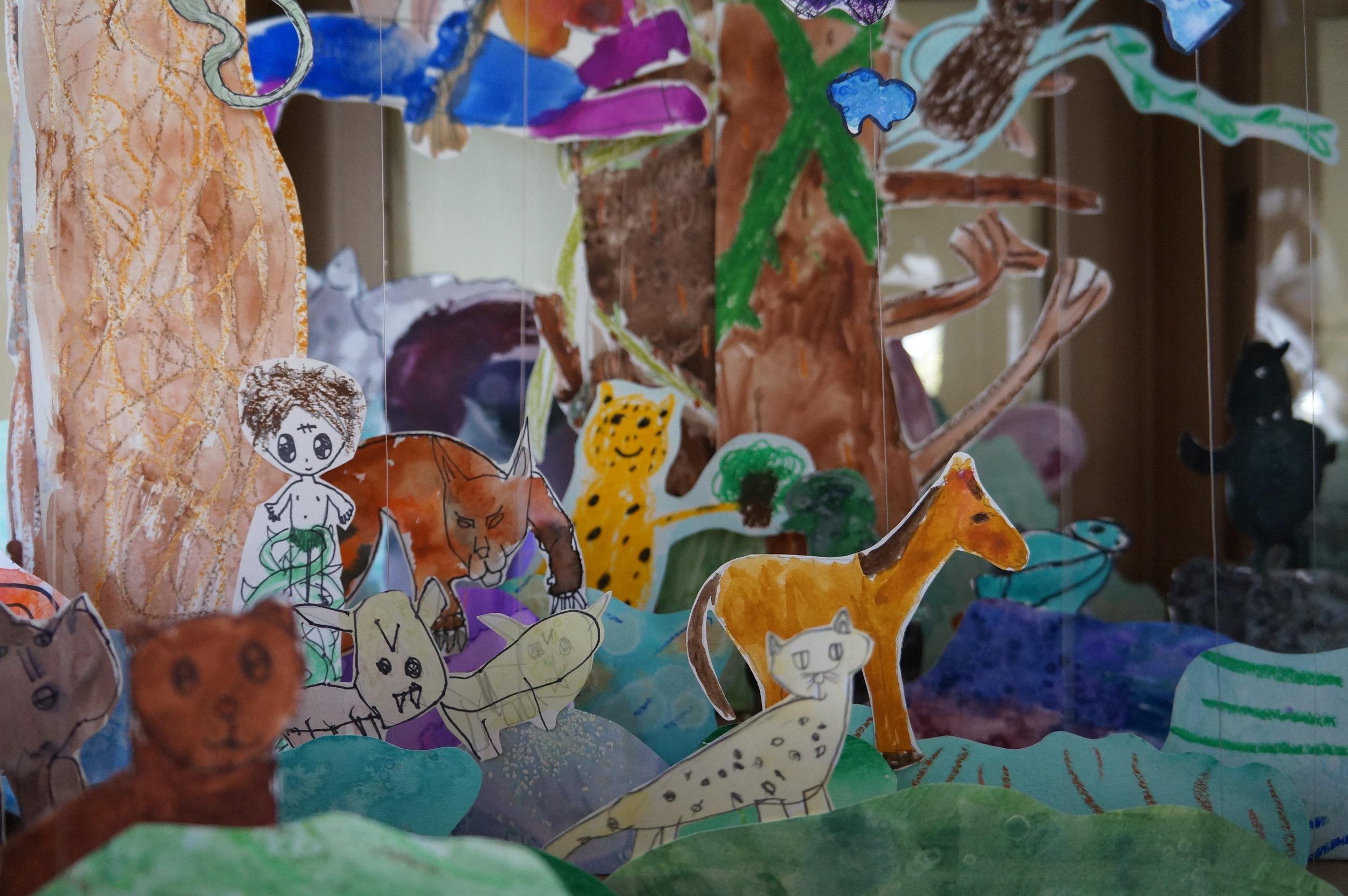 Jungle Diorama (Grade 1-6) ,  Dr. Erick Jackman Institute of Child Study Laboratory School - Artist Visit for Earth Week.  2016
