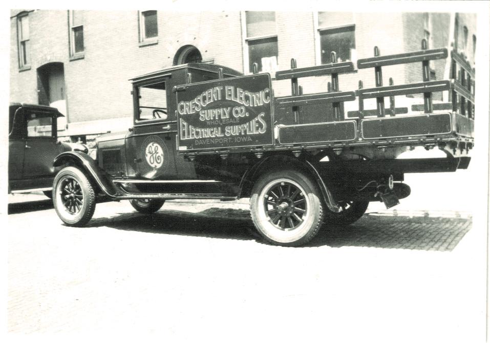A Crescent Electric delivery truck in Davenport, Iowa. Circa 1930.